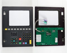 Rubber, PCB with Drive Electronics, Metal Backer and Antiglare Polarized Window