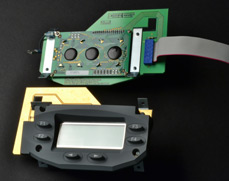 Pushgate Switch, Rubber Keypad, PCB with Integrated Display